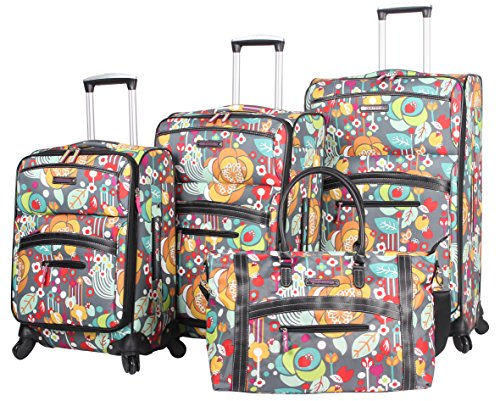 Lily Bloom Luggage Set 4 Piece Suitcase Collection With...