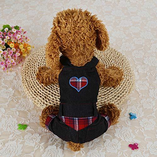 Lovejoy Store Winter-Kostüm für Hunde, Denim-Optik, Herz-Muster, Latzhose, Kleidung für kleine und mittelgroße Haustiere