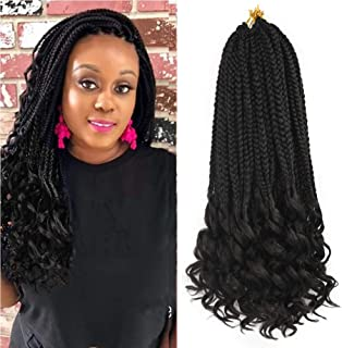 REFINED HAIR 6Packs 18Inch 3S Wavy Box Braids Crochet Braid Hair Extensions 22roots Ombre Kanekalon Synthetic Goddess Box Braids With Wavy Free End Crochet Braids (18inch,1B)