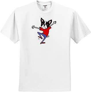3dRose All Smiles Art Adult T-Shirt XL Funny Cute Happy Boston Terrier Puppy Dog Dancing Cartoon ts/_319326 Funny