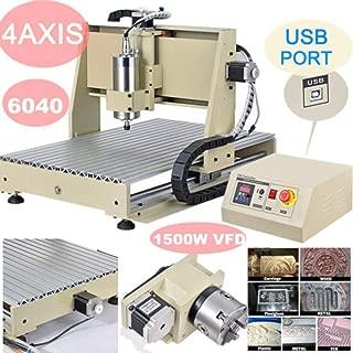 CNCEST Milling Machines, 4 Axis 6040 USB Port 1500W CNC Router Engraver MACH3 VFD Print Machine Engraving Cutting Machine Power Milling Drilling Milling Machine, USA STOCK