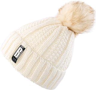 Novawo Women s Trendy Pom Pom Hat Fleece Lined Beanie Winter Warm Knit Hats  Slouchy fe0e1d764317