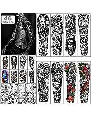 Metuu 46 vellen grote volledige arm tijdelijke tatoeages voor mannen, draak klok bloem skelet schorpioen halve arm waterdichte nep tattoo stickers voor volwassenen of tieners op onderarm schouder