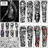 Metuu 46 Sheets Extra Large Full Arm Temporary Tattoos For Men and Women, Lion Koi Dragon Clock Flower Skeleton Scorpion Tattoos for Teens, Body Forearm Shoulder Temp Waterproof Fake Tattoo Stickers