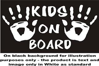 Kinder, Kind, Kids hands on Board ' Schild Aufkleber Autoaufkleber sticker Aufkleber für Fenster (je ca. 7,5 x 13.97 cm, Weiß, Versand als standard