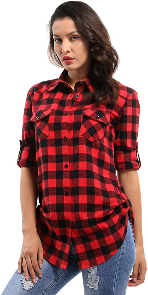 Women's Classic safety Plaid Easy-to-use Flannel Shirt Button Sleeve Down Long Blou