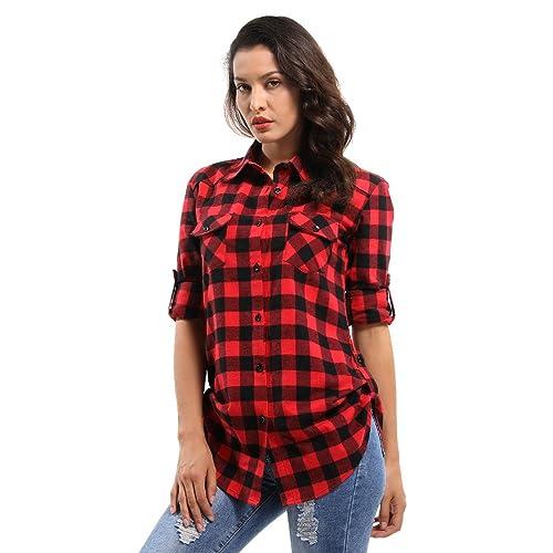 8354f28021f72 OCHENTA Women's Long Sleeve Button Down Plaid Flannel Shirt