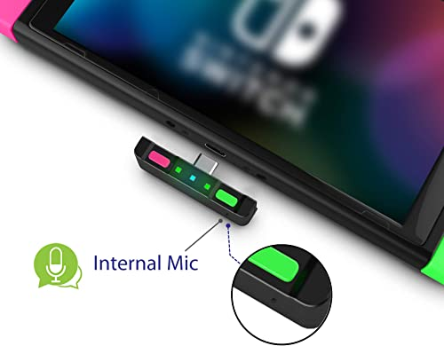 HomeSpot Bluetooth 5.0 Audio Transmitter Adapter USB C Connector APTX Low Latency for Nintendo Switch™ Lite Accessories Compatible with AirPods PS4 Bose Sony and Bluetooth Headphones Neon Green & Neon Pink product image