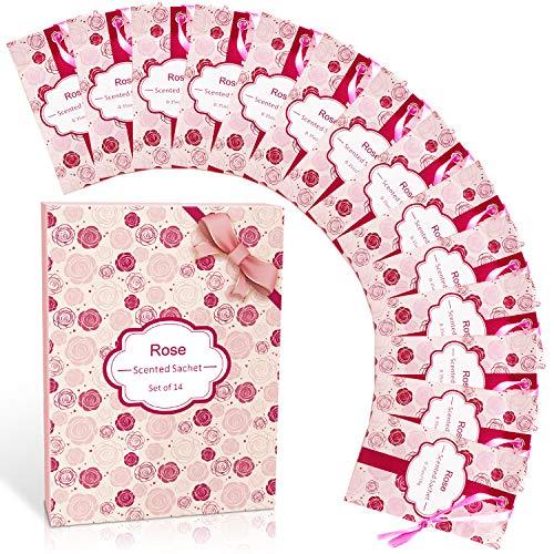 SCENTORINI Duftsäckchen mit Rosenduft, für Schubladen, Schränke, Zimmer, Kleiderschrank, Badezimmer, Autos, Valentinstagsgeschenke (14 Beutel)