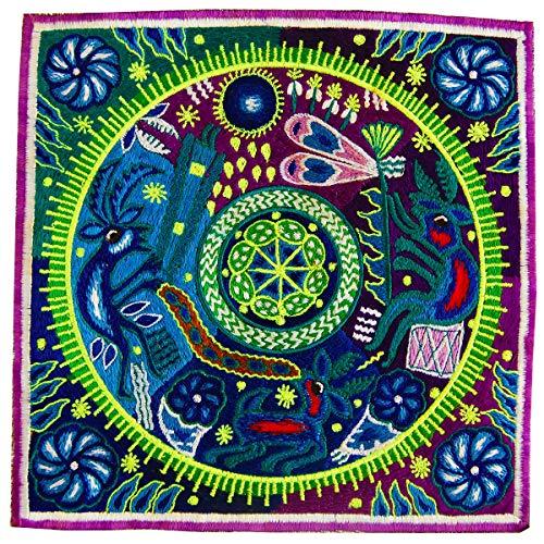 ImZauberwald Huichol Stickerei (20cm, Schwarzlicht aktiv, Schamanisch, handgestickt ohne PC) Hikuri San Pedro Peyote Meskalin Kaktus Patch