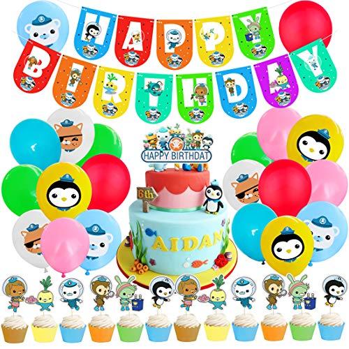 Kit de Decoraciones de Cumpleaños de The Octonauts Globos de The Octonauts Globos de Látex de The Octonauts Cupcake Toppers Pancarta de Fiesta de Yoda Suministros de Fiesta Temáticos de Superhéroes