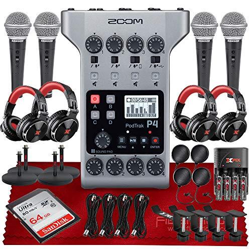 Zoom PodTrak P4 Portable Multitrack Podcast Recorder, 4 Microphone Inputs, 4 Headphone Outputs, Audio Interface + 64GB SD, 4 X Dynamic Microphone, 4 X Pro DJ Headphones, w/Platinum Accessory Kit