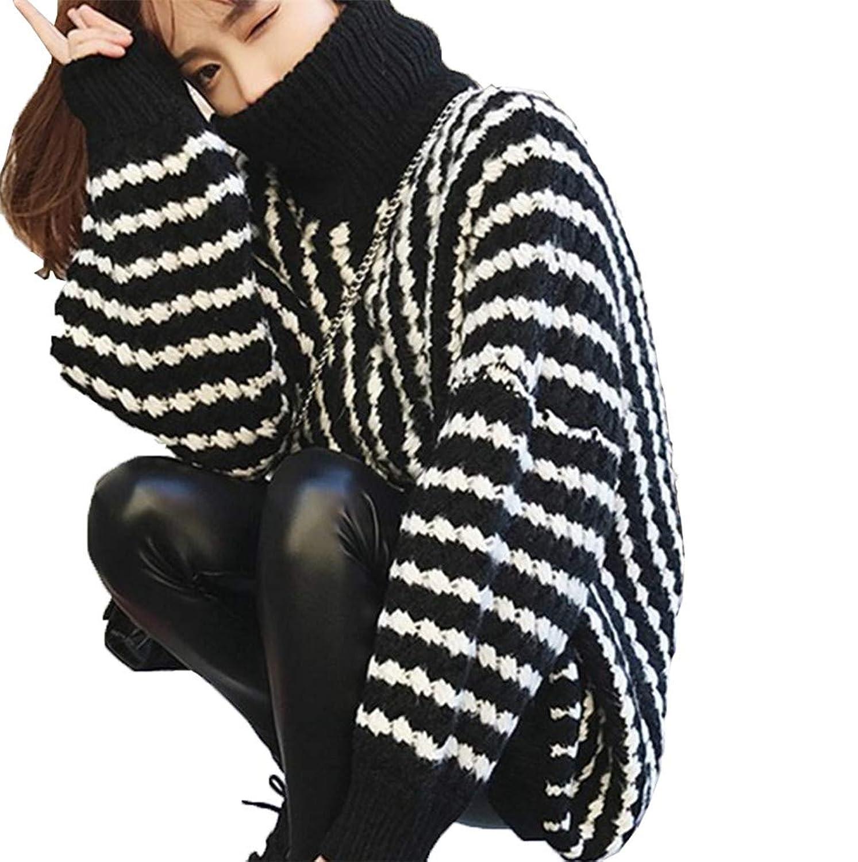 美しいです]怠惰な風のセーターの女性、秋と冬の新しい、緩やかな、中と長い、厚い、高い襟、プルオーバーストライプのセーター