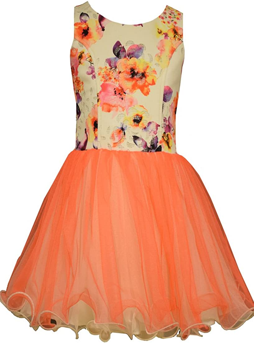 Bonnie Jean Girls' Party Dress with Floral Printed Bodice & Mesh Skirt
