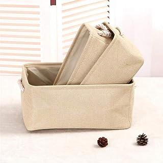 MU Grande boîte de rangement en coton et lin respectueux de l'environnement Panier de rangement pliable, beige, 32 * 22 * ...