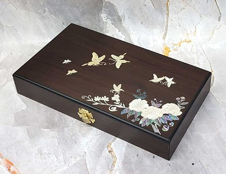 Korean Style Wooden Traditional Lacquerware Inlaid Mother-of-Pearl Storage Accessory Jewelry Medal Necklace Key Envelope Watch Case Container Box Drawer Hinged Gong-jin-dan Handicraft Wood Pattern 50 Hole [Flower Mother-of-pearl 50Hole]