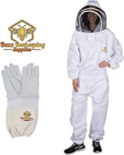 Professional Beekeeping Suit and Goatskin Gloves (1 Pair) Self-Supporting Fencing Veil and Heavy Duty YKK Metal Zippers for Bee Keepers Easily Take On and Off (Medium)