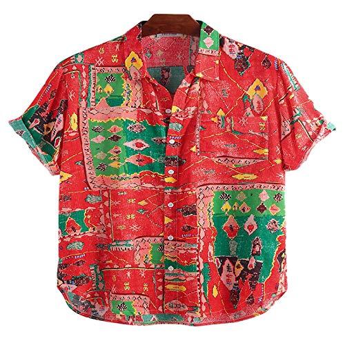 Corumly Herren Kurzarmhemden Mode Trendy Revers Lose Bedruckte Kurzhemden Ethnische Casual Kurzarmhemden L