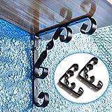 LLFFDC Soportes de Estante Soporte de Esquina Soporte de Hierro Negro en L, Soportes de macetero para Caja de Ventana con Flores, Soporte de ángulo Decorativo para estantes de 90 Grados, Tornillos