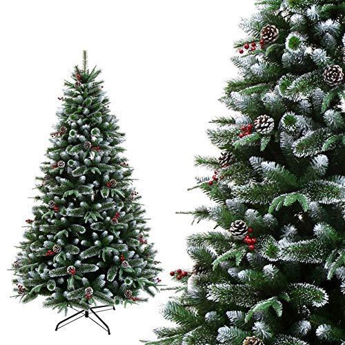 WQSFD Weihnachtsbaum künstlich 180cm Naturgetreu Artificial Snow Mit Tannenzapfen & Beeren 800 Spitzen Zweige Grün PE+PVC Material mit Aufbewahrungstasche Premium Christbaum,180 cm