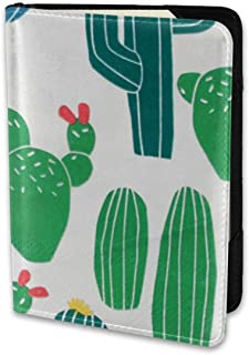 ENJOYG Funny Cactus Passport Holder Travel Wallet 6.5 Inch Ecological Dermis Fabric Card Case Cover,for Man & Women Travel Time