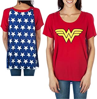 Wonder Woman Shirt Women's Interchangeable Caped Costume T-Shirt