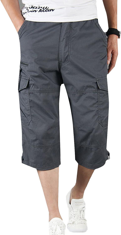 PEHMEA Men's Cotton Cargo Shorts 3/4 Loose Fit Elastic Waist Below Knee Twill Capri Shorts