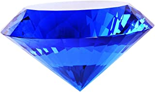 Blue Crystal Glass Diamond Shaped Decoration 80mm Jewel Paperweight