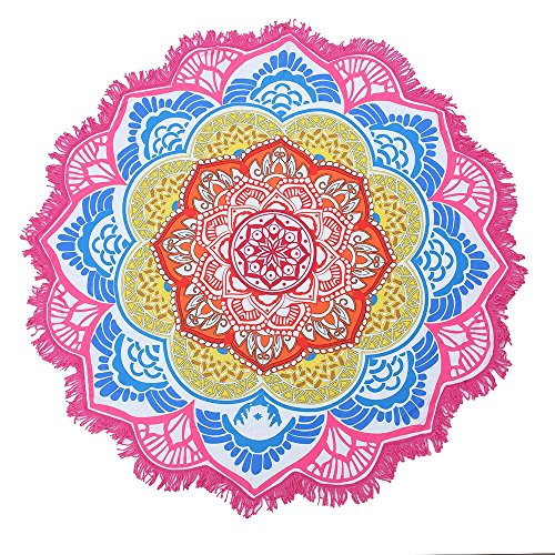 Vlovelife 152,4 cm Round Fleur de Lotus Drap de plage Polyester Tapisserie indien Mandala extérieur Plage en hippie Gypsy Boho Couvre-lit Serviette Nappe à suspendre Tapis de yoga, Polyester, rose, 60''