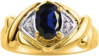 Diamond & Sapphire Ring Set In Yellow Gold Plated Silver - XOXO Hugs & Kisses Design