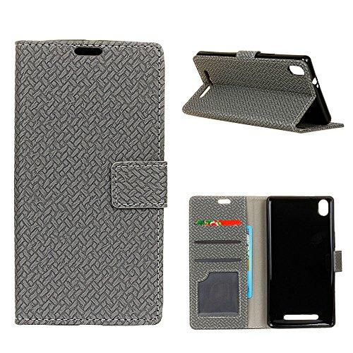 Acer Liquid X2 Custodia, CHIHENG Intrecciate modelli PU Pelle TPU Interno Portafoglio Carta Folio Supporto Stand Protettivo Paraurti Chiusura Magnetica Case Cover Per Acer Liquid X2 Grigio