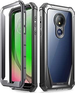 Moto G7 Power Case, Moto G7 Supra Case, Moto G7 Optimo Maxx Case, Poetic Full-Body Rugged Clear Hybrid Bumper Case, Built-in-Screen Protector, Shock Proof, DO NOT FIT Moto G7 Or Moto G7 Play, Black