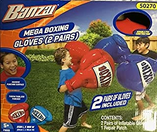 Banzai Inflatable Boxing Gloves 2 pair (1) Red & (1) Blue