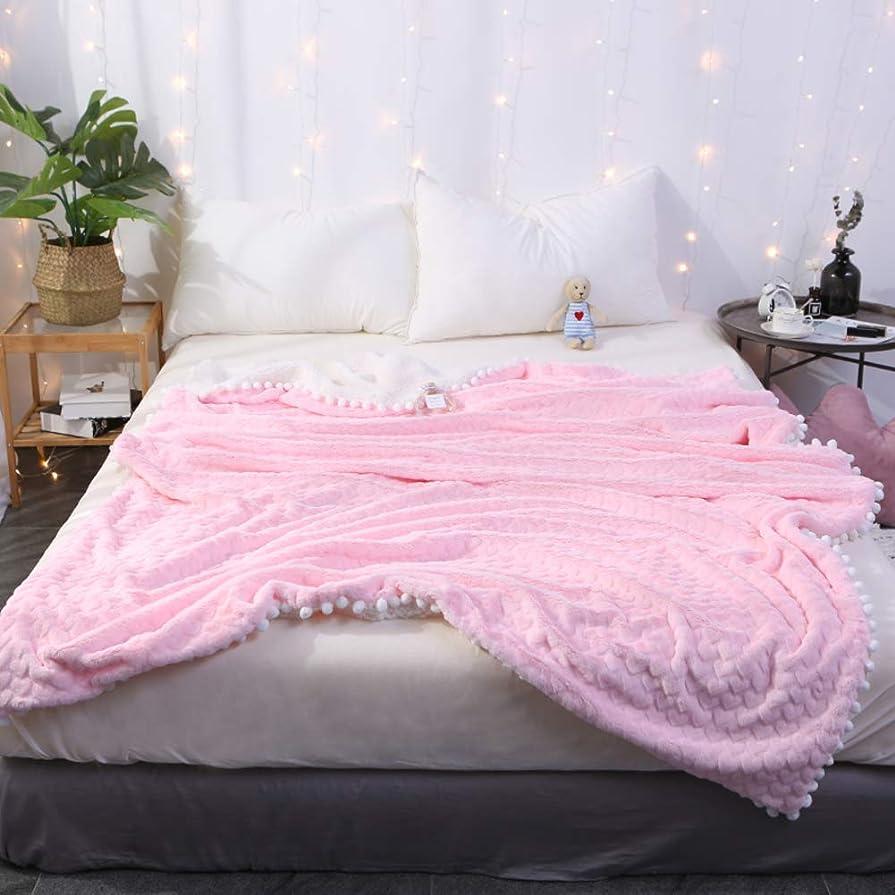 スリーブステープル共同選択ラブハート フリース 毛布 ポンポンフリンジ付き 二重層 快適で 厚い ブランケット 暖かい ソフト 掛け布団 の ベッド ソファ-ピンク 47x59inch(120x150cm)