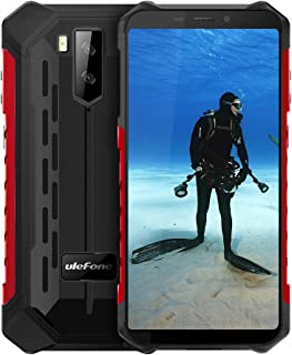 """Ulefone Armor X5 IP68 Waterproof Rugged Cell Phone Unlocked,Android 9.0 Outdoor Smartphone 5.5"""" 18:9 FHD+,MT6763 3GB + 32GB,Dual 4G LTE Global Bands,GPS+GLONASS+NFC,5000mAh Battery,Shockproof(Red)"""
