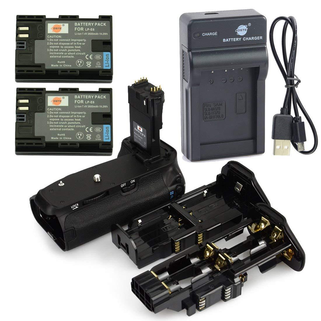 DSTE BG-E14 Apretón Batería + 2x LP-E6 Batería + USB Cargador para Canon EOS 70D 80D: Amazon.es: Electrónica