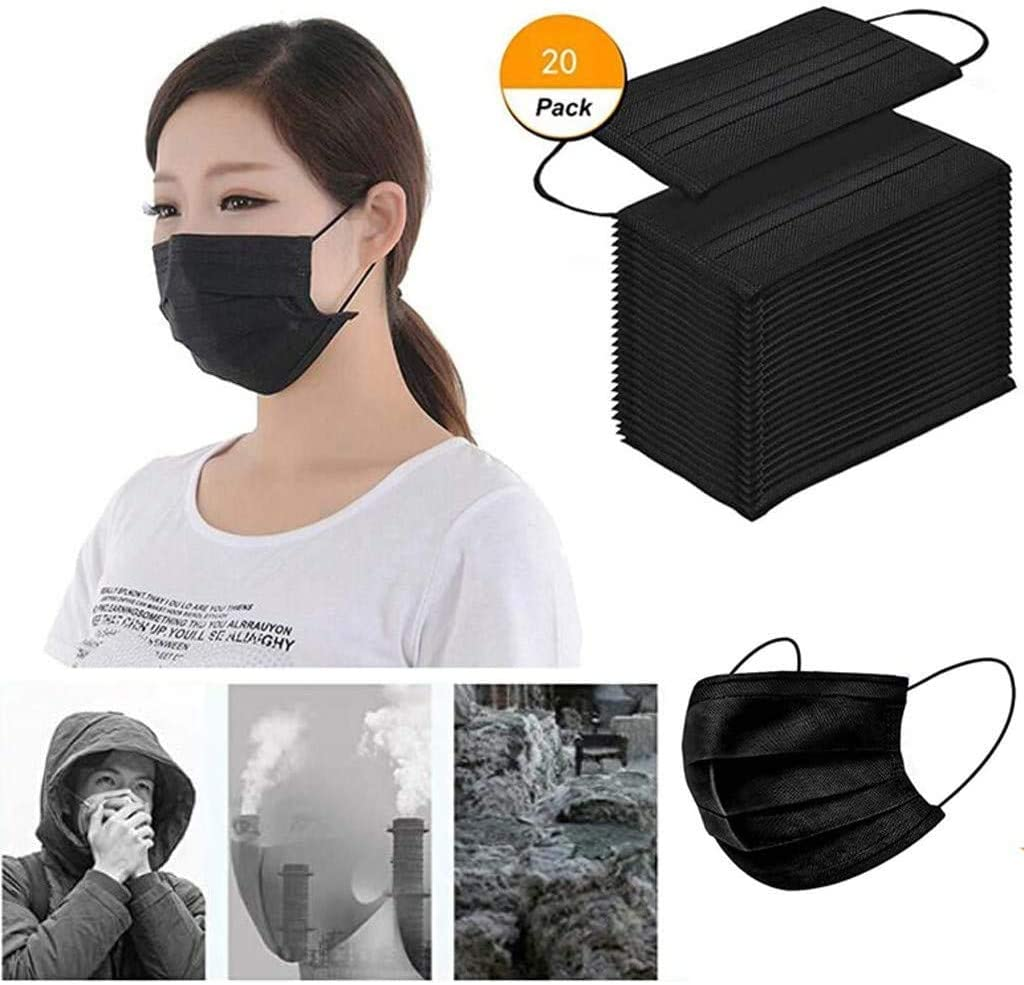 RCPA 3 ply Black Disposable face Shield Filter Protection Breathable dust Proof Cover