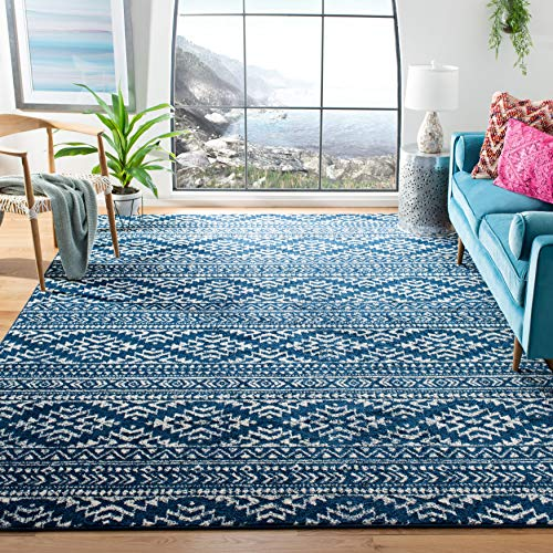 Safavieh Tulum Collection TUL272N Moroccan Boho Tribal Non-Shedding Stain Resistant Living Room Bedroom Area Rug, 8' x 10', Navy / Ivory