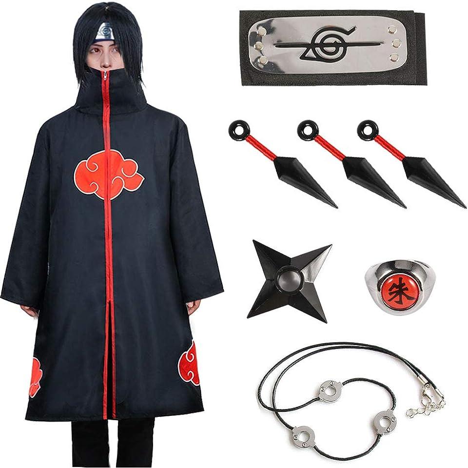 Akatsuki Cloak Itachi Kids Naruto Cosplay Costumes Cloak Akatsuki Robe Capes Halloween Cosplay Costume with Headband Ring