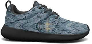 leagtniei7 White Navy Blue Marble Womens 2019 Ultra Lighweight Skateboarding Shoes