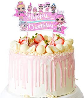 LOL Cake Topper, Happy Birthday Cake Topper, Pink Rainbow Cake Decorations for Bday Theme Party - Single Side 1 count count