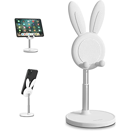 Cute Cell Phone Stand, Angle Height Adjustable nediea Cell Phone Stand for Desk, Cute Bunny Phone Holder Stand, Compatible with All Mobile Phones,iPhone,Samsung,Pixel,iPad,Tablet (White)