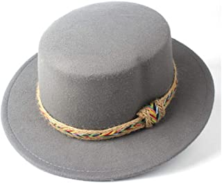 Pork Pie Hat Fedora Trilby Flat Top Hat Men Women with Belt Winter Wide Brim Hat Outdoor Travel Fascinator Hat Casual Church Hat Size 56-58CM (Color : Gray, Size : 56-58)