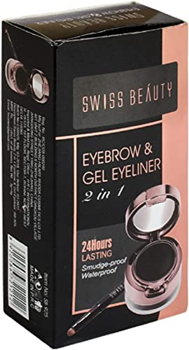 Swiss Beauty Eyebrow & Gel Eyeliner 2 in 1 (24 Hours Lasting) Smudge Proof, Water Proof