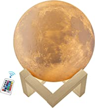 3D Music Moon Lamp, Kowth 16 Colors Moon Light with Wood Stand and Remote Control and USB Rechargeable, Room Decorations, ...