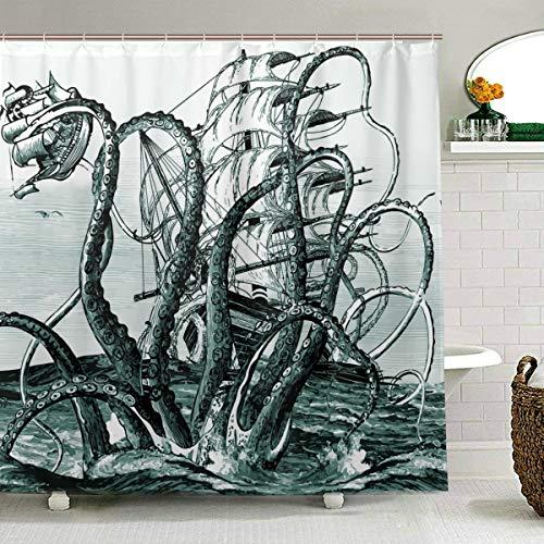 ZOEO Octopus Duschvorhang für Badezimmer dunkelgrün Ocean Kraken Attack Ink Stoff Duschvorhang Set Hintergr& 12 Haken Wasserdicht Polyester waschbar für altes Badezimmer 182,9 x 182,9 cm