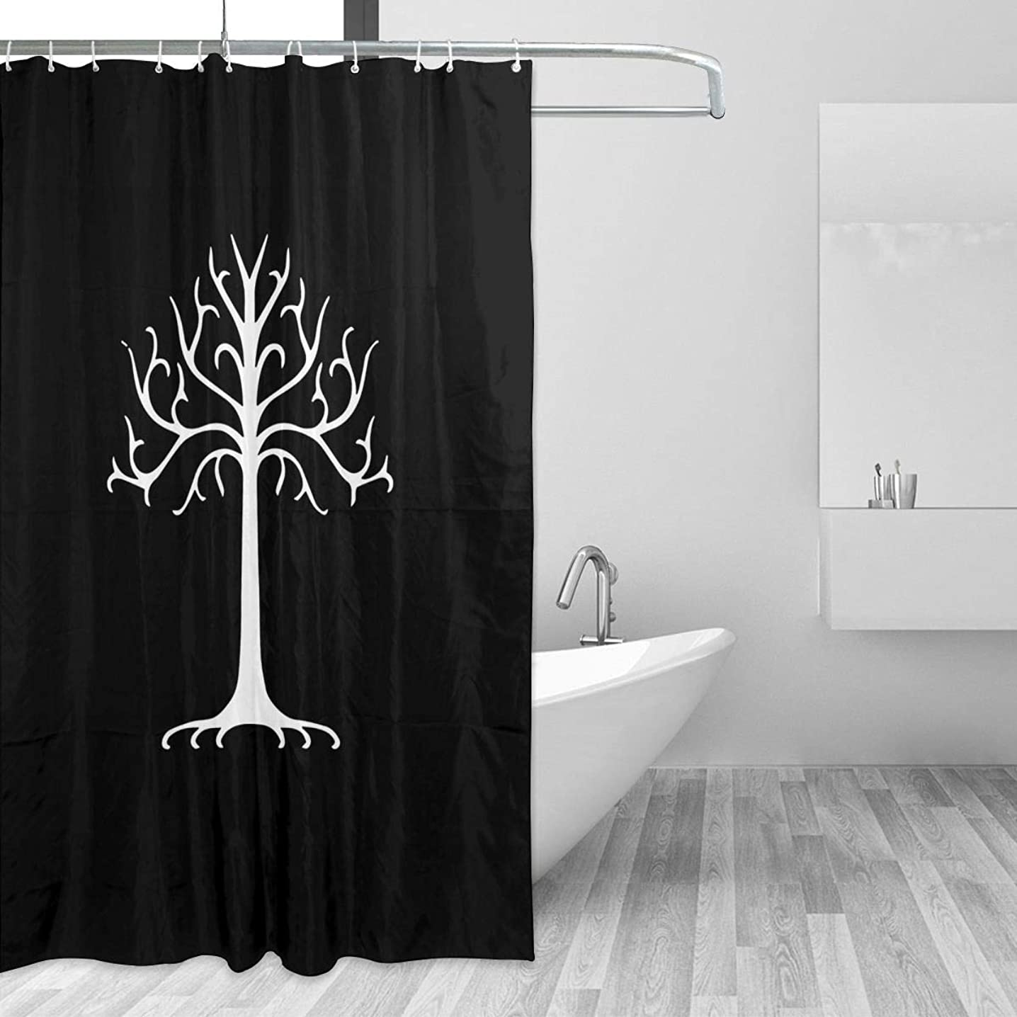 Warm-Tone Art White Tree of Gondor Shower Curtain Stylish and Individual Bathroom Curtain Decoration with Hooks - 60x72 Inches