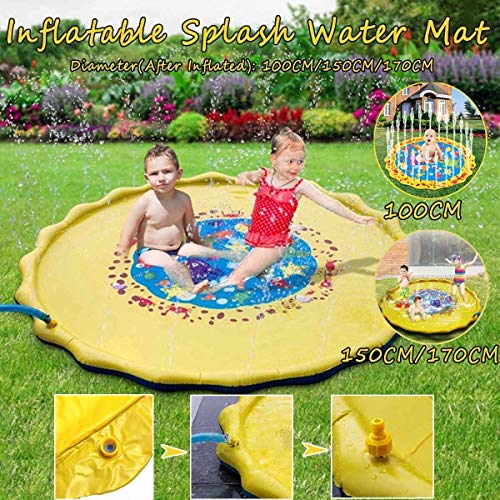 Aufblasbarer Pool Aufblasbare Wasserspielmatte PVC Infant Unterwasser Wasser-Spray-Pad Sprinkler Matratze im Freien ZHQHYQHHX (Color : 170CM, Size : A)