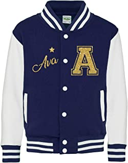 Kids Personalized Glitter Varsity Jacket