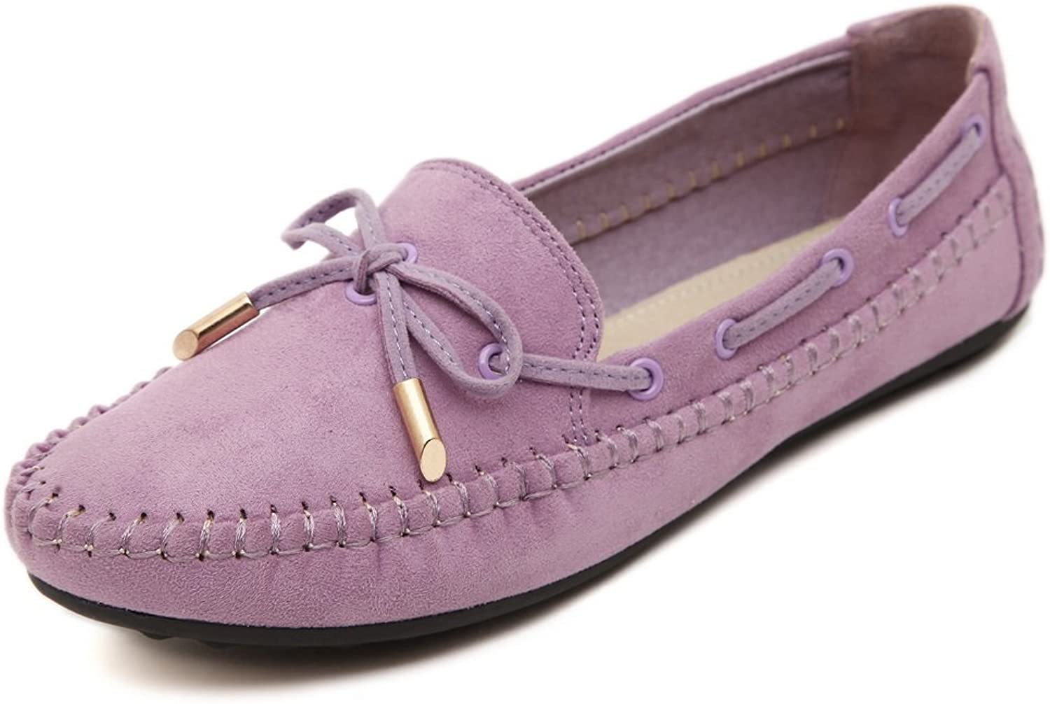 AdeeSu Womens Bows Round-Toe Solid Suede Flats shoes